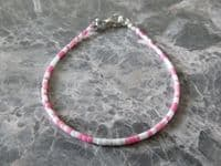 Dainty Pink & White Seed Bead Modern Fashion Anklet   Silver Sensations